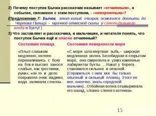 2) Почему поступок Бычка рассказчик называет «отчаянным», а событие, связанное с