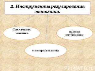 2. Инструменты регулирования экономики. Фискальная политика Монетарная политикаП