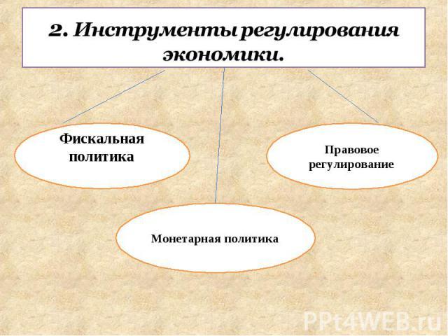 2. Инструменты регулирования экономики. Фискальная политика Монетарная политикаПравовое регулирование