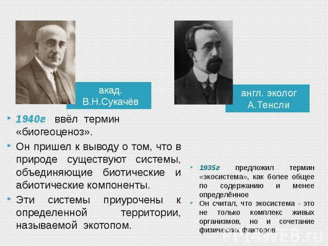 акад. В.Н.Сукачёв1940г ввёл термин «биогеоценоз». Он пришел к выводу о том, что в природе существуют системы, объединяющие биотические и абиотические компоненты. Эти системы приурочены к определенной территории, называемой экотопом.англ. эколог А.Те…