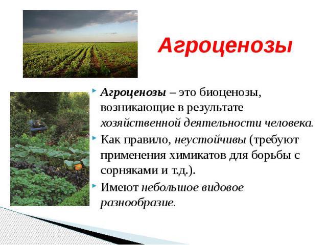 Агроценозы Агроценозы – это биоценозы, возникающие в результате хозяйственной деятельности человека.Как правило, неустойчивы (требуют применения химикатов для борьбы с сорняками и т.д.).Имеют небольшое видовое разнообразие.