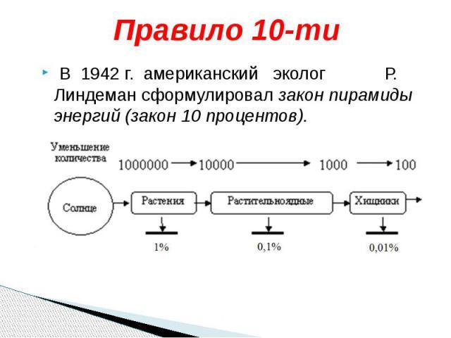 Правило 10-ти В 1942 г. американский эколог Р. Линдеман сформулировал закон пирамиды энергий (закон 10 процентов).