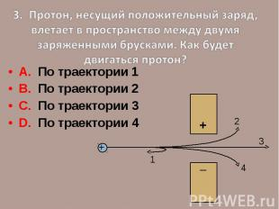 3. Протон, несущий положительный заряд, влетает в пространство между двумя заряж