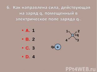 6. Как направлена сила, действующая на заряд q, помещенный в электрическое поле