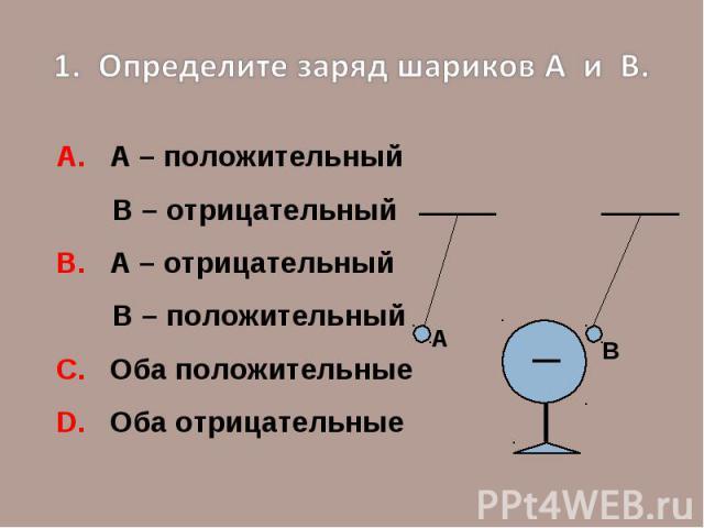 1. Определите заряд шариков А и В.А. А – положительный В – отрицательныйВ. А – отрицательный В – положительный С. Оба положительныеD. Оба отрицательные