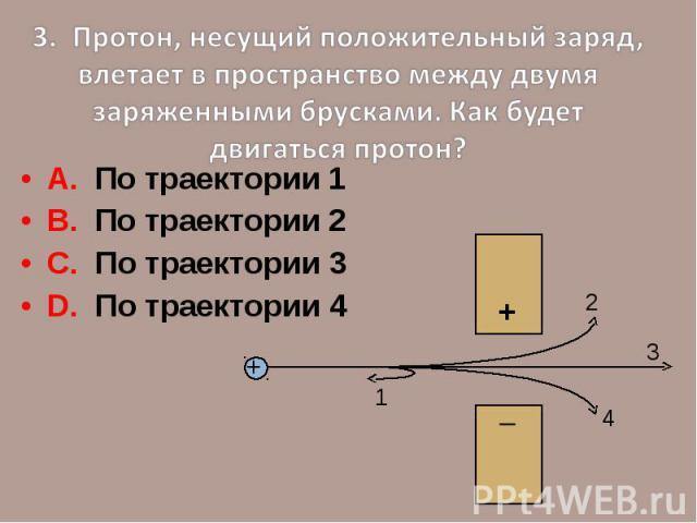 3. Протон, несущий положительный заряд, влетает в пространство между двумя заряженными брусками. Как будет двигаться протон?А. По траектории 1В. По траектории 2С. По траектории 3D. По траектории 4