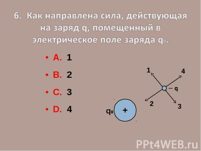 6. Как направлена сила, действующая на заряд q, помещенный в электрическое поле заряда q0.А. 1В. 2С. 3D. 4