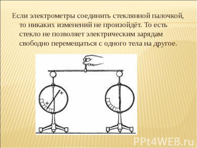 Если электрометры соединить стеклянной палочкой, то никаких изменений не произойдёт. То есть стекло не позволяет электрическим зарядам свободно перемещаться с одного тела на другое.