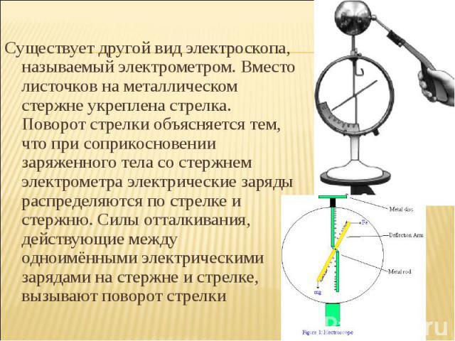 Существует другой вид электроскопа, называемый электрометром. Вместо листочков на металлическом стержне укреплена стрелка. Поворот стрелки объясняется тем, что при соприкосновении заряженного тела со стержнем электрометра электрические заряды распре…