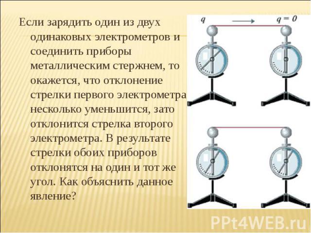 Если зарядить один из двух одинаковых электрометров и соединить приборы металлическим стержнем, то окажется, что отклонение стрелки первого электрометра несколько уменьшится, зато отклонится стрелка второго электрометра. В результате стрелки обоих п…
