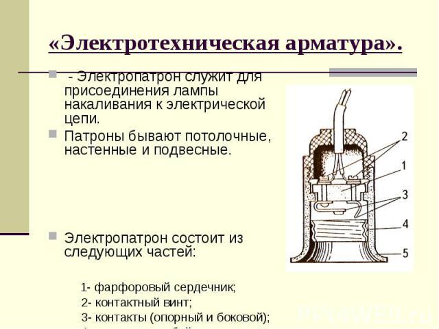 «Электротехническая арматура». - Электропатрон служит для присоединения лампы накаливания к электрической цепи. Патроны бывают потолочные, настенные и подвесные. Электропатрон состоит из следующих частей: 1- фарфоровый сердечник; 2- контактный винт;…