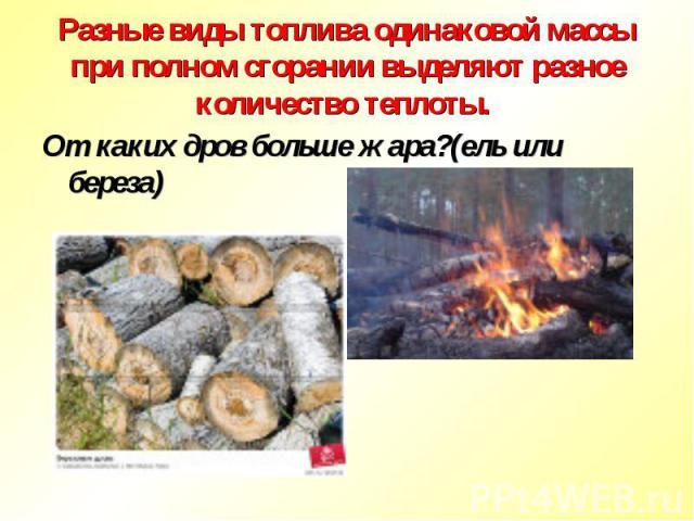 Разные виды топлива одинаковой массы при полном сгорании выделяют разное количество теплоты. От каких дров больше жара?(ель или береза)