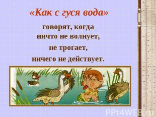 «Как с гуся вода» говорят, когда ничто не волнует, не трогает, ничего не действу