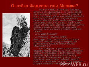 Ошибка Фадеева или Мечика?Одно из главных обвинений, брошенных Мечику литературо