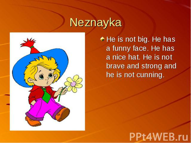 NeznaykaHe is not big. He has a funny face. He has a nice hat. He is not brave and strong and he is not cunning.