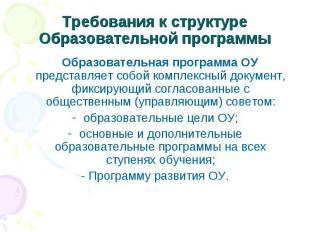 Требования к структуре Образовательной программы Образовательная программа ОУ пр