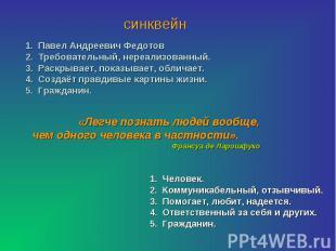 синквейнПавел Андреевич ФедотовТребовательный, нереализованный.Раскрывает, показ