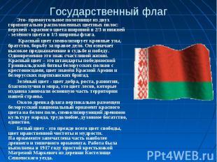 Государственный флагЭто- прямоугольное полотнище из двух горизонтально расположе