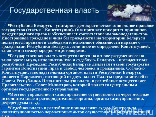 Государственная властьРеспублика Беларусь - унитарное демократическое социальное правовое государство (статья 1 Конституции). Она признает приоритет принципов международного права и обеспечивает соответствие им законодательства. Иностранные граждане…