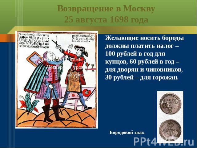 Возвращение в Москву25 августа 1698 годаЖелающие носить бороды должны платить налог – 100 рублей в год для купцов, 60 рублей в год – для дворян и чиновников, 30 рублей – для горожан.