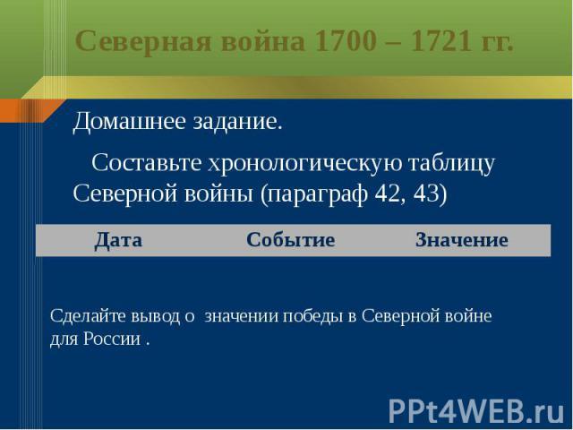 Северная война 1700 – 1721 гг.Домашнее задание. Составьте хронологическую таблицу Северной войны (параграф 42, 43)Сделайте вывод о значении победы в Северной войне для России .
