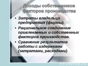 Доходы собственников факторов производстваЗатраты владельца предприятия (фирмы).
