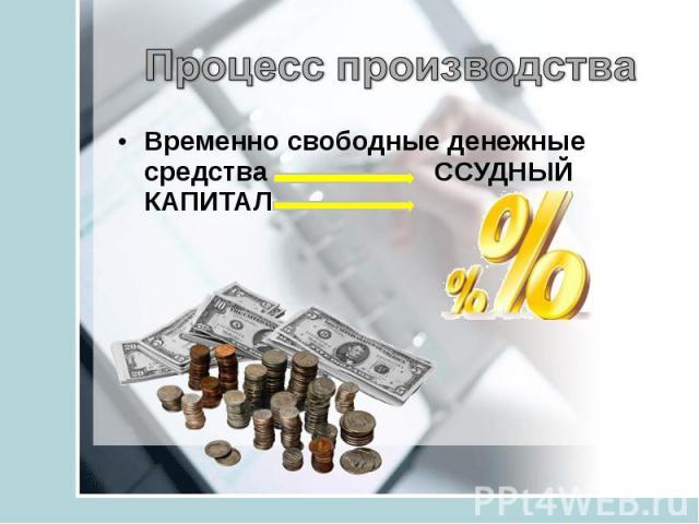 Процесс производстваВременно свободные денежные средства ССУДНЫЙ КАПИТАЛ