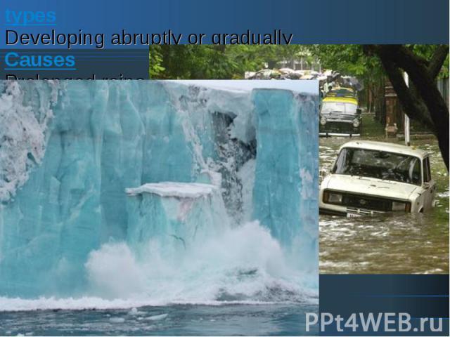 typesDeveloping abruptly or graduallyCausesProlonged rains