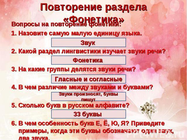 Повторение раздела «Фонетика»Вопросы на повторение фонетики:Назовите самую малую единицу языка.Какой раздел лингвистики изучает звуки речи?На какие группы делятся звуки речи?В чем различие между звуками и буквами?Сколько букв в русском алфавите?В че…