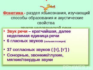 Фонетика - раздел языкознания, изучающий способы образования и акустические свой