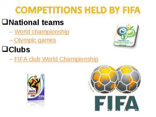 Competitions held by FIFANational teamsWorld championshipOlympic gamesClubs FIFA