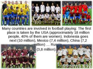 Many countries are involved in football playing: The first place is taken by the