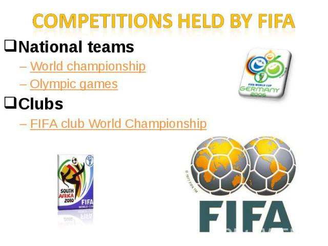 Competitions held by FIFANational teamsWorld championshipOlympic gamesClubs FIFA club World Championship