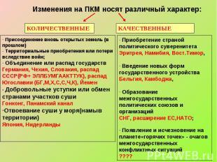 Изменения на ПКМ носят различный характер: Присоединение вновь открытых земель (