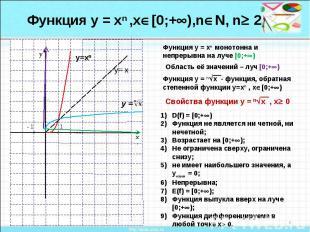 Функция у = хn ,х[0;+),nN, n 2Функция у = хn монотонна и непрерывна на луче [0;+