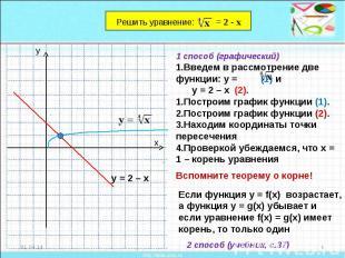 1 способ (графический)Введем в рассмотрение две функции: у = (1) и у = 2 – х (2)
