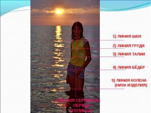 1) ЛИНИЯ ШЕИ2) ЛИНИЯ ГРУДИ3) ЛИНИЯ ТАЛИИ4) ЛИНИЯ БЁДЕР5) ЛИНИЯ КОЛЕНА (НИЗА ИЗДЕ