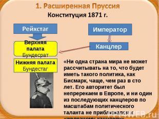 1. Расширенная ПруссияКонституция 1871 г. «Ни одна страна мира не может рассчиты