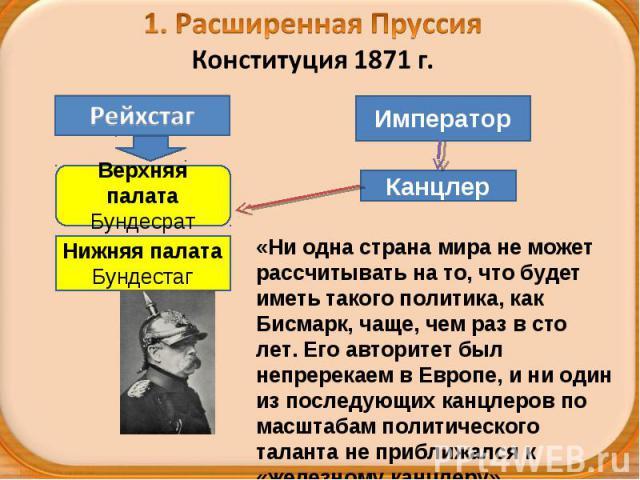 1. Расширенная ПруссияКонституция 1871 г. «Ни одна страна мира не может рассчитывать на то, что будет иметь такого политика, как Бисмарк, чаще, чем раз в сто лет. Его авторитет был непререкаем в Европе, и ни один из последующих канцлеров по масштаба…