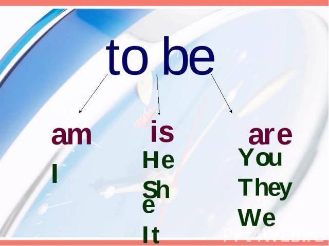 to be am HeSheIt areYouThey We