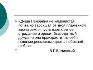 «Душа Печорина не каменистая почва,но засохшая от зноя пламенной жизни земля:пус
