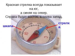Красная стрелка всегда показывает на юг, а синяя на север. Справа будет восток,