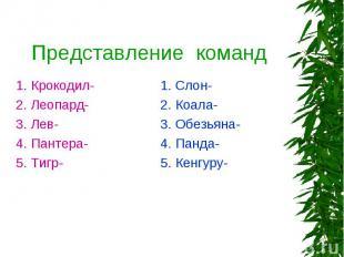 Представление команд 1. Крокодил- 2. Леопард- 3. Лев- 4. Пантера- 5. Тигр- 1. Сл