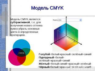 Модель CMYKМодель CMYK является субтрактивной, т.е. для получения нового оттенка