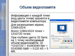 Объем видеопамятиИнформация о каждой точке (код цвета точки) хранится в видеопам