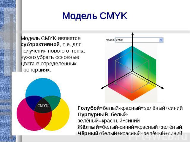 Модель CMYKМодель CMYK является субтрактивной, т.е. для получения нового оттенка нужно убрать основные цвета в определенных пропорциях.Голубой=белый-красный=зелёный+синийПурпурный=белый-зелёный=красный+синийЖёлтый=белый-синий=красный+зелёныйЧёрный≠б…