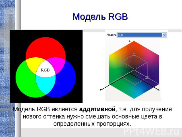 Модель RGBМодель RGB является аддитивной, т.е. для получения нового оттенка нужно смешать основные цвета в определенных пропорциях.