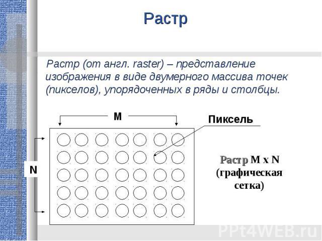 Растр Растр (от англ. raster) – представление изображения в виде двумерного массива точек (пикселов), упорядоченных в ряды и столбцы.