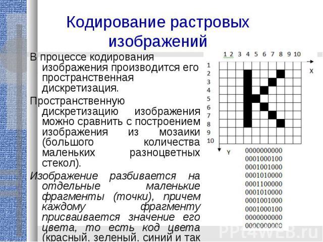 Кодирование растровых изображений В процессе кодирования изображения производится его пространственная дискретизация. Пространственную дискретизацию изображения можно сравнить с построением изображения из мозаики (большого количества маленьких разно…