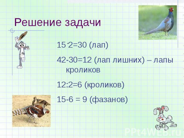 Решение задачи 2=30 (лап)42-30=12 (лап лишних) – лапы кроликов12:2=6 (кроликов)15-6 = 9 (фазанов)
